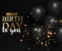 Happy Birthday with Black Bright Colours Medium Rectangle template