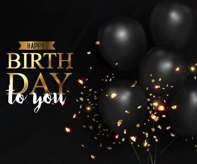 Happy Birthday with Black Bright Colours สามเหลี่ยมขนาดกลาง template