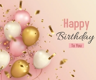 Happy Birthday with realistic balloons Middelgrote rechthoek template
