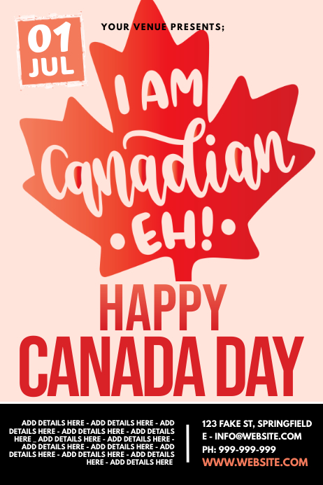 Happy Canada Day Poster template