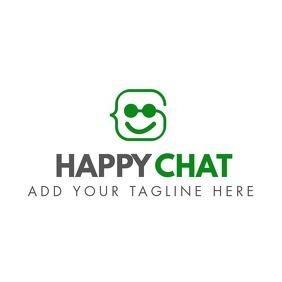 happy chat icon logo template design