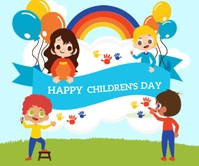 Happy Children Day Umugqa Omkhulu template
