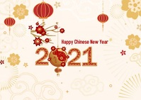 Happy Chinese New Year 2021 Postcard template