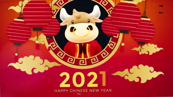 Happy Chinese New year wishes Gif Digitalt display (16:9) template