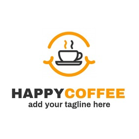 Happy coffee logo icon Logotipo template
