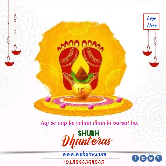 Happy Dhanteras wishes Animated Template Message Instagram