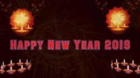 Happy diwali & happy new year wishes gif งานแสดงผลงานแบบดิจิทัล (16:9) template