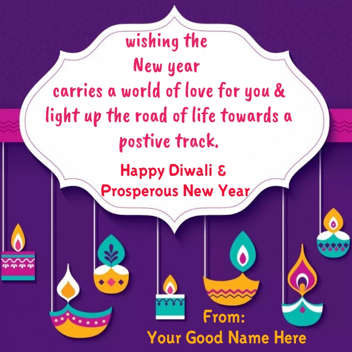 Happy Diwali u0026 New Year wishes wallpaper Template  PosterMyWall