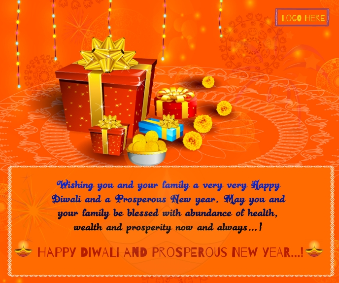Happy Diwali &New Year wishes Wallpaer Stort rektangel template