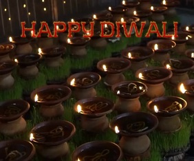 HAPPY DIWALI DIYA TEMPLATE Rectángulo Grande