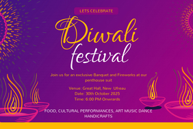 Happy Diwali Festival Invitation Video Template 海报