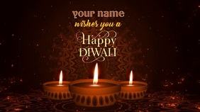 Happy Diwali wishes animated gif Ecrã digital (16:9) template
