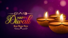 Happy Diwali Wishes GIF with Sound Ecrã digital (16:9) template