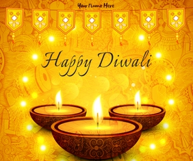Happy Diwali wishes wallpaper Large Rectangle template