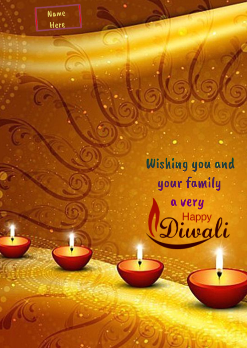 Happy Diwali Wishes Wallpaper A6 template