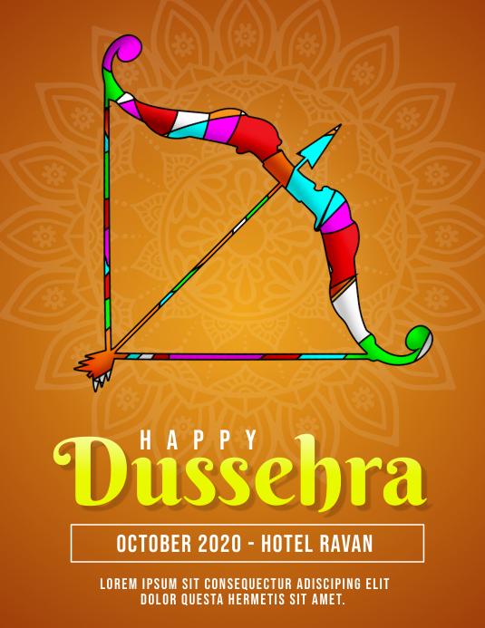 Happy Dussehra Flyer Orange Template Folder (US Letter)