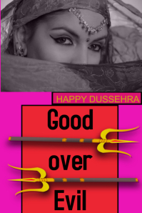 happy dussehra/India/festival/good over evil แบนเนอร์ 4' × 6' template
