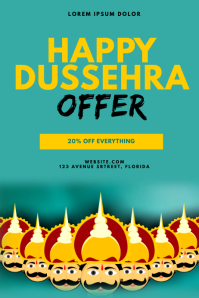 Happy Dussehra Sale Offer Flyer Template