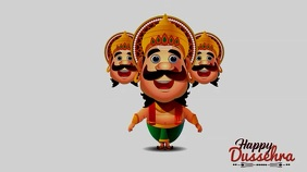 Happy Dussehra wishes Gif With Music Tampilan Digital (16:9) template