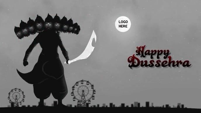 Happy Dussehra Wishes Gif With Sound Digital na Display (16:9) template