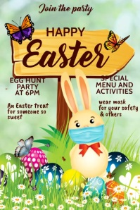 Happy Easter, egg hunt party, Easter party Poster template