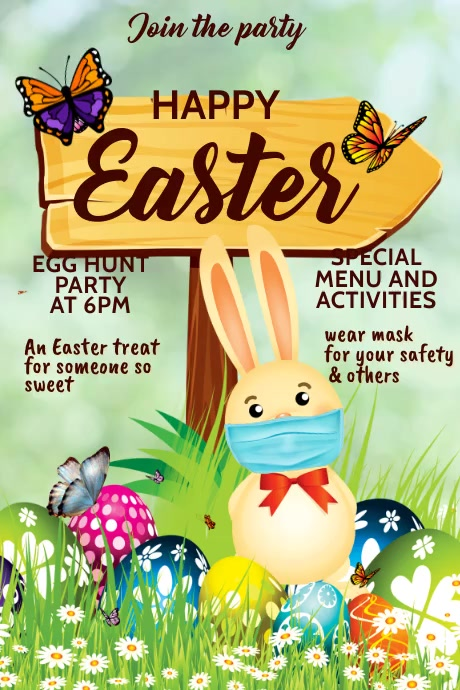 Happy Easter, egg hunt party, Easter party Plakkaat template