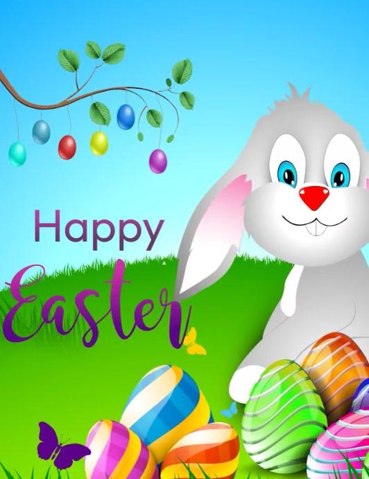 happy easter , easter egg Flyer (Letter pang-US) template