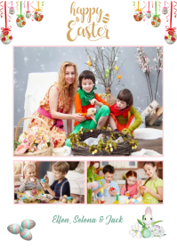Happy Easter card Etykieta template