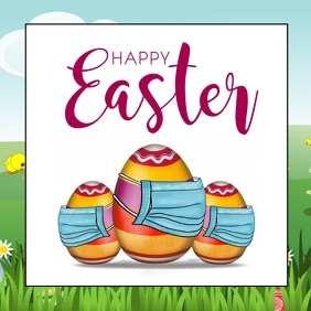 Happy Easter Corona Covid19 Mask egg lawn Instagram Post template