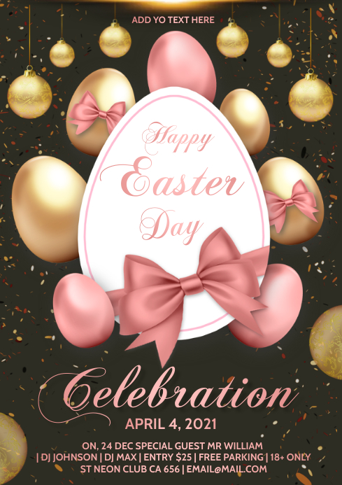 happy easter day celebration A4 template