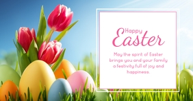 Happy Easter funny bunny rabbit rosa Wish Facebook Shared Image template