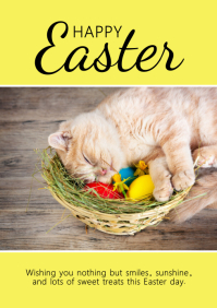 happy Easter Greeting Card Kitten Cat Sweet