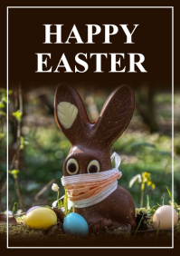 Happy Easter Greeting Card Corona Covid Bunny