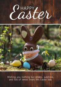 Happy Easter Greeting Card Corona Covid Bunny A4 template