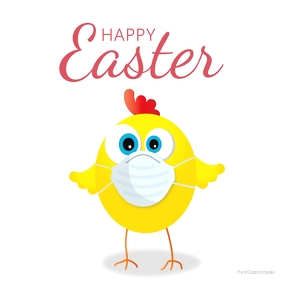 happy Easter Greeting Card Corona Covid chick Instagram Post template