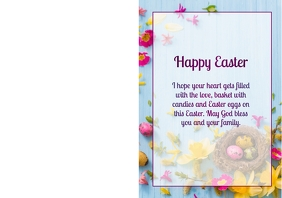 Happy Easter Greeting Card DinA4 Wishes