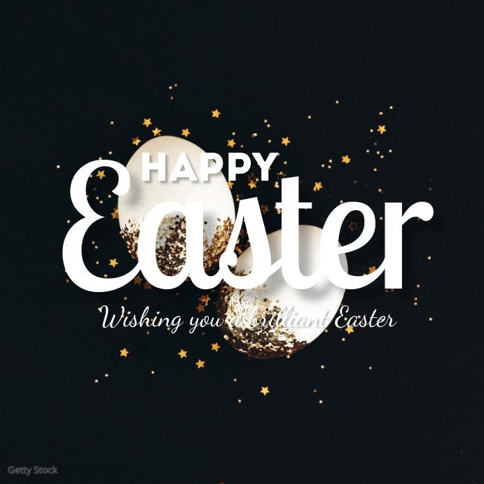 Happy Easter Greeting Card Egg Golden Square Instagram-opslag template