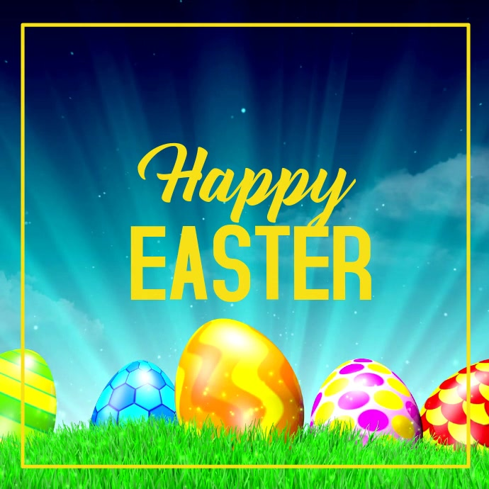 Happy Easter Greeting Card Egg Heaven Lawn Yellow Wishes