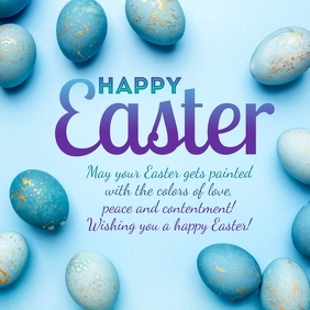 Happy Easter Greeting Card eggs decoration Instagram Post template