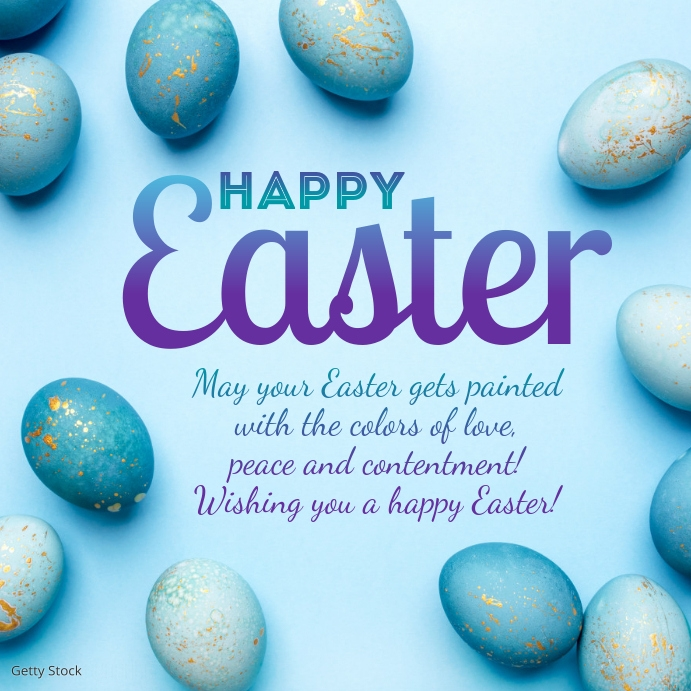 Happy Easter Greeting Card eggs decoration Instagram-opslag template