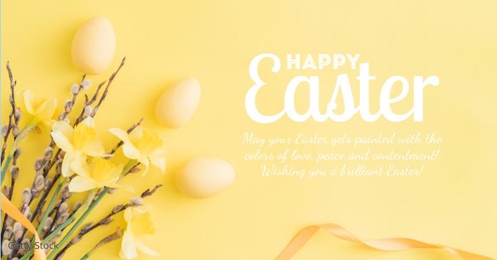 Happy Easter Greeting Card eggs decoration delt Facebook-billede template