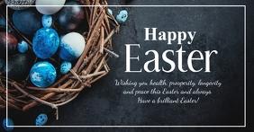 Happy Easter Greeting Card Eggs Blue Glam Imagen Compartida en Facebook template