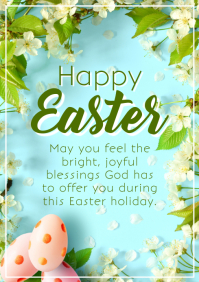 Happy Easter Greeting Card Flowers Lawn Heave