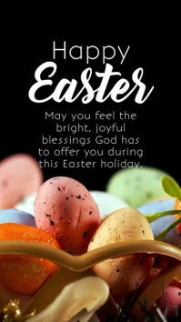 Happy Easter Greeting Card Flowers Lawn Heave Instagram Story template