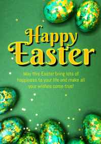 Happy Easter Greeting Card Golden Egg