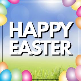 Happy Easter Greeting Card Pink Easter Eggs Instagram-opslag template