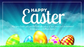 Happy Easter Greeting Card Shine Lights Eggs
