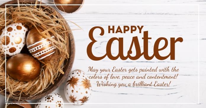 Happy Easter Greeting Card Flowers Eggs Decoration delt Facebook-billede template