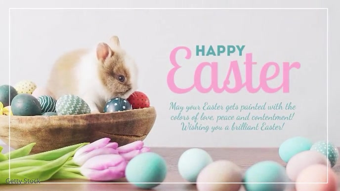 Happy Easter Greeting Card Sweet Bunny Text Digital na Display (16:9) template