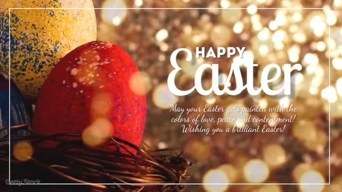 Happy Easter Greeting Card Sweet Bunny Text Digitalt display (16:9) template